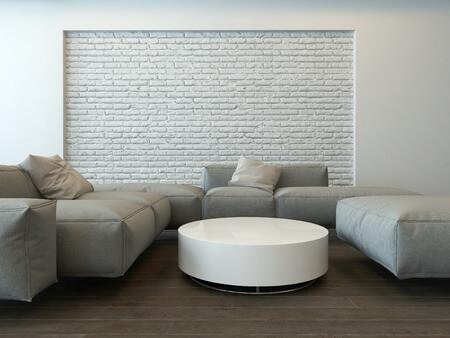 חיפוי קיר באבנים בסלון