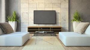 אריחים צבע שמנת לקיר טלוויזיה בסלון